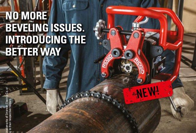 Быстрое снятие фаски на стальных трубах с новым устройством Ridgid B-500.